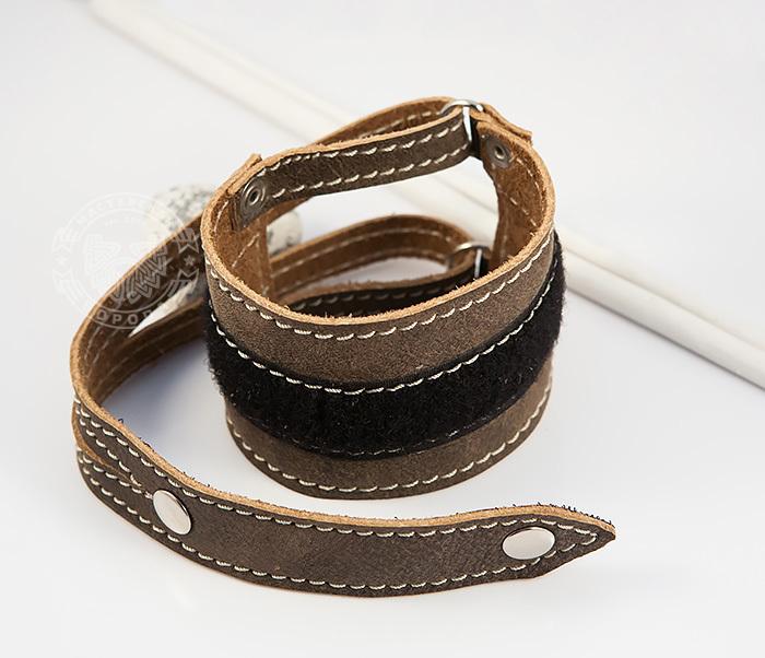 BL425-2 Широкий мужской браслет из кожи, ручная работа,  «Boroda Design» фото 02