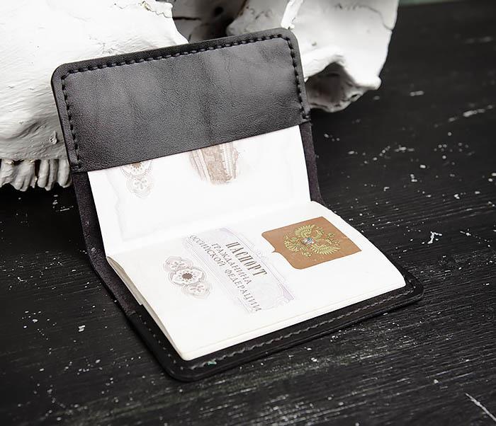 WB174-1 Черная обложка на паспорт из натуральной кожи фото 08