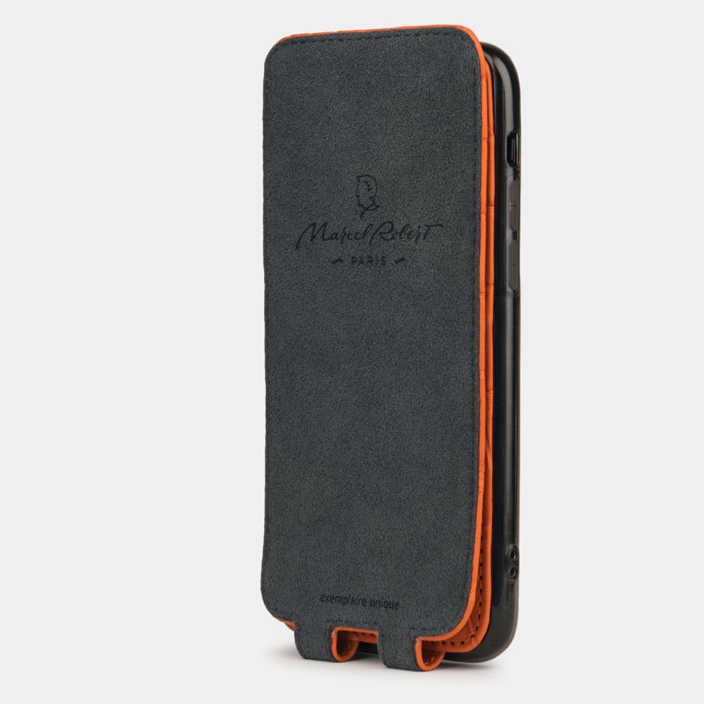 Special order: Чехол для iPhone 11 Pro из натуральной кожи крокодила, цвета оранжевый мат
