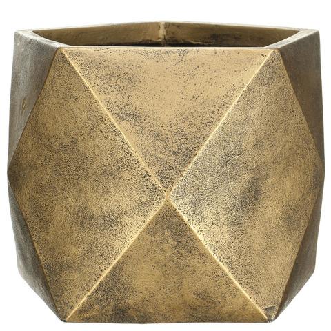 DSQUARE38-GLD Кашпо Геометри Ромб, файберстоун, золото, W38 L38 H30 cm