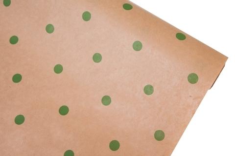 Бумага крафт 40гр/м2, 70см x 10м, Горошины, зеленый