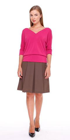 Фото модный ярко-розовый джемпер с v-образным вырезом - Джемпер В471-208 (1)