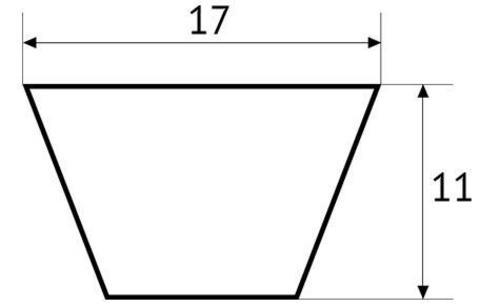 Ремень клиновой полиуретановый UNITED PARTS тип B (17мм) не армированный (синий) 1 метр (PUA17)