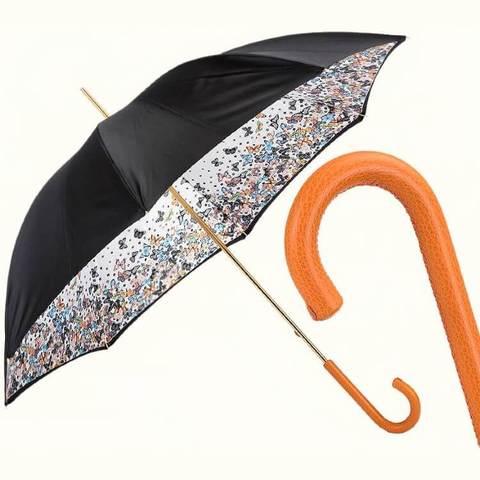 Бабочки яркий зонт-трость с кожаной ручкой