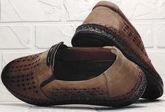 Коричневые туфли мокасины мужские кожа smart casual стиль летние Luciano Bellini 91737-S-307 Coffee.