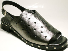 Серебристые босоножки сандали женские кожаные. Летние босоножки на низком каблуке Marani Magli - Black Silver.