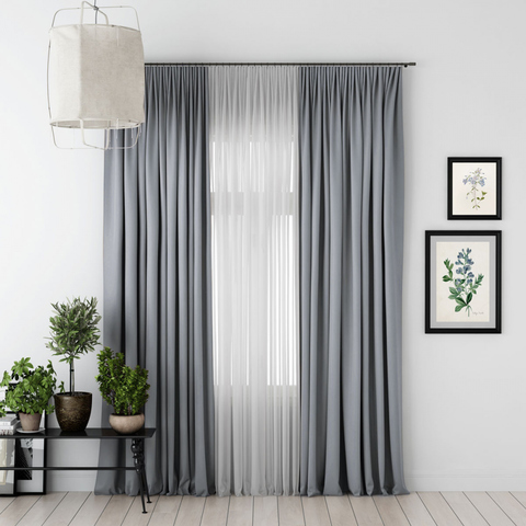 Комплект штор и тюль Джина блэкаут серый