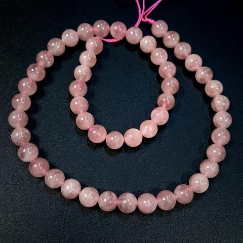 Бусины розовый кварц АА Мадагаскар шар гладкий 8 мм 24 бусины