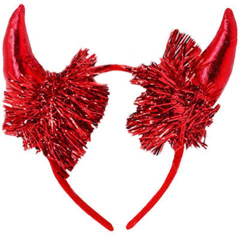 Ободок Рога черта красные, с мишурой