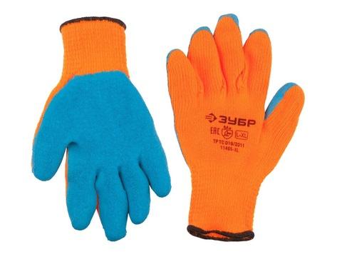 ЗУБР УРАЛ, размер L-XL, перчатки утепленные акриловые с рельефным латексным обливом.