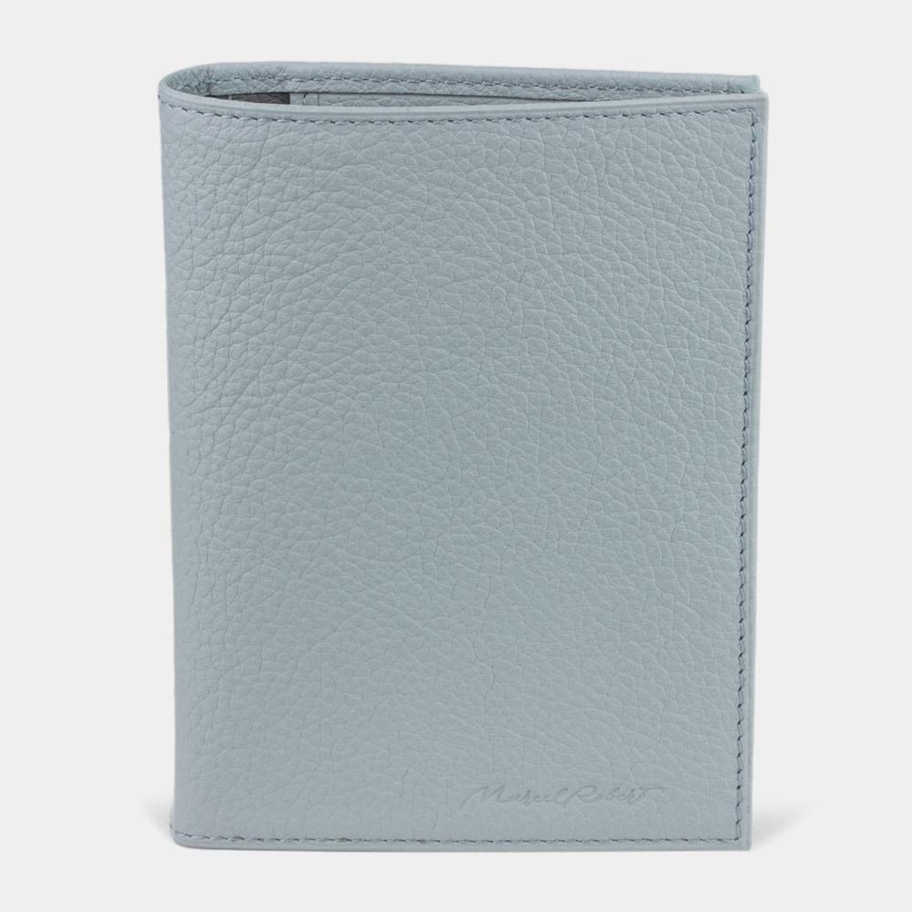 Обложка на паспорт и для автодокументов Paris Bicolor из натуральной кожи теленка, голубого цвета