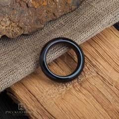 Кольцо из черного нефрита сплошное