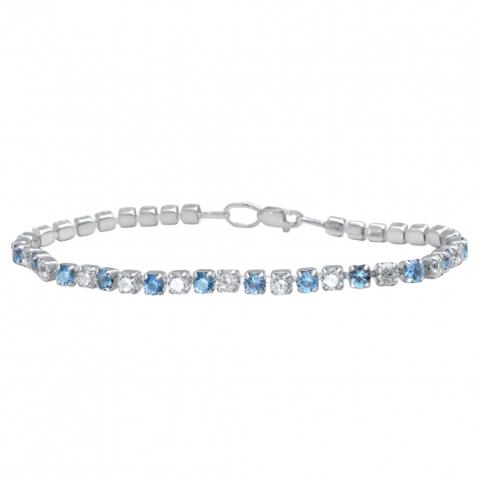 01Б251062-7 Серебряный теннисный браслет с голубыми нано-топазами