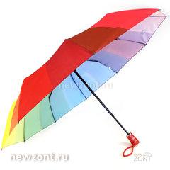Радужный зонт автомат 10 спиц M.N.S. с красной рукояткой
