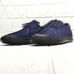 Мужские мокасины на шнурках стиль кэжуал Luciano Bellini 91268-S-321 Black Blue.