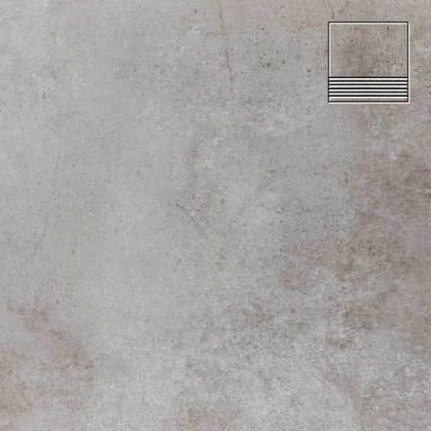 Stroeher - Keraplatte Aera Т 705 beton 300x294x10 артикул 8131 - Клинкерная ступень с насечками без угла
