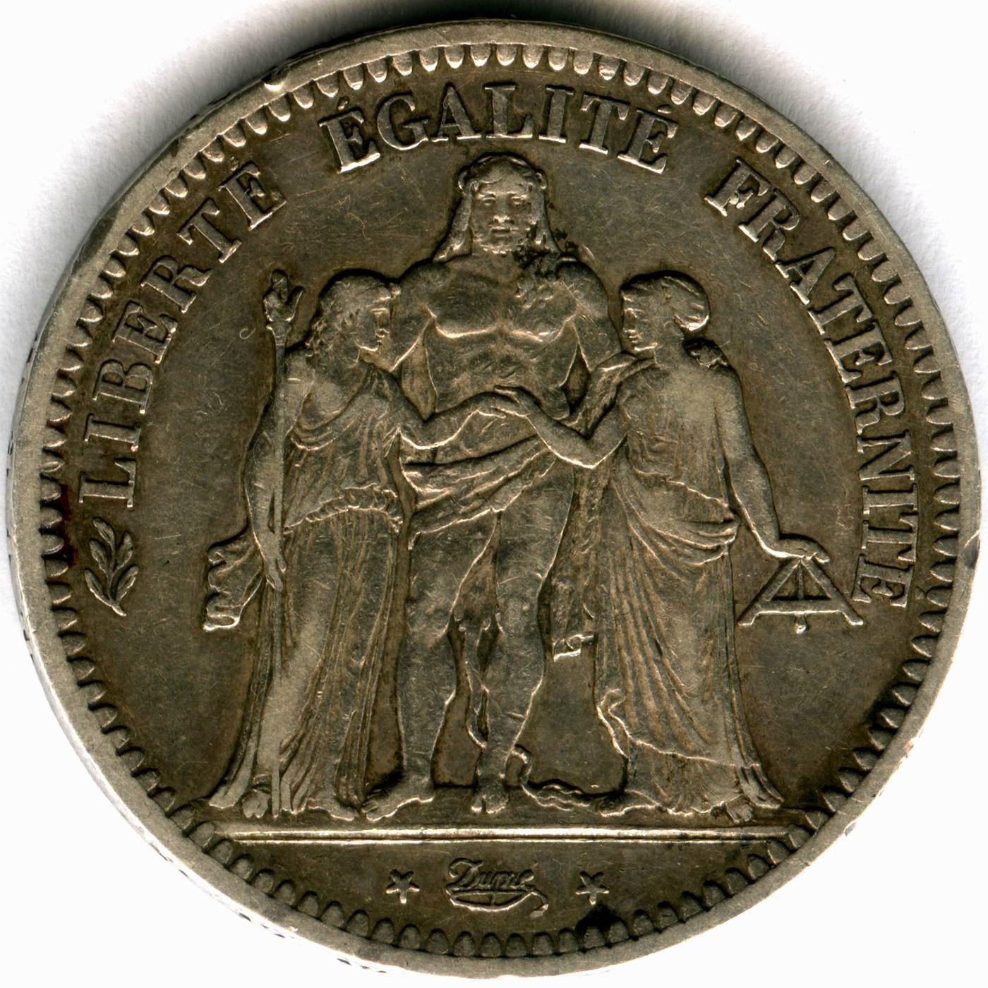 5 франков 1848 год A. (Геркулес) VF
