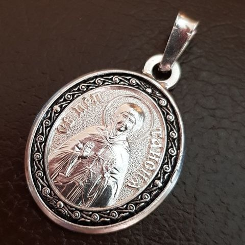 Нательная именная икона святая Таисия с серебрением  кулон с молитвой