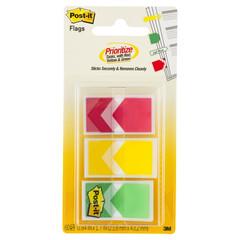 Клейкие закладки Post-it Стрелки пластиковые 3 цвета по 20 листов 24x43 мм в диспенсере