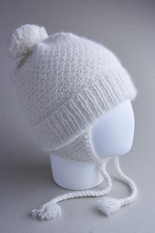 Шапочка для детей с завязками из ангоры, ц. молочный, р. 1-2 года, 46-48 см