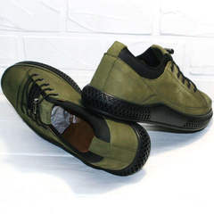 Мужские сникерсы туфли нубук Luciano Bellini C2801 Nb Khaki.