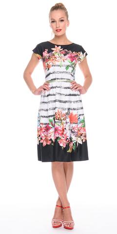 Фото хлопковое платье приталенного силуэта с цветочным принтом - Платье З179а-731 (1)