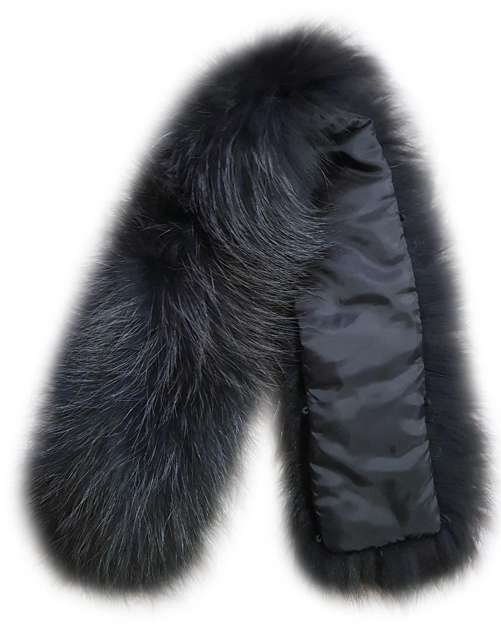 Опушка меховая на капюшон из натурального меха енот 70 см. Черная с серыми кончиками