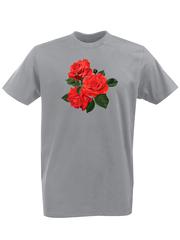 Футболка с принтом Цветы (Розы) серая 002