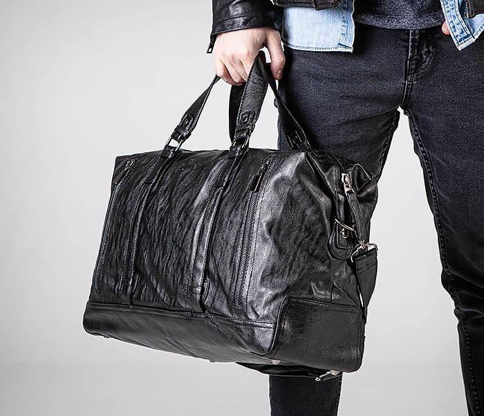 BAG543 Крупная дорожная сумка из кожи черного цвета фото 03