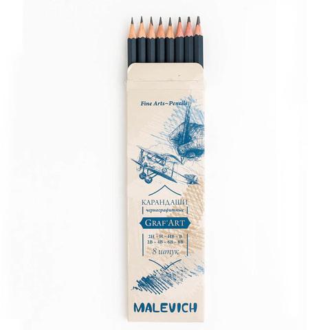 Набор чернографитных карандашей Малевичъ Graf'Art, 8 шт
