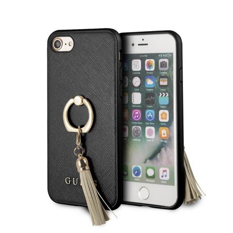 Чехол Guess Saffiano для iPhone 7/8/SE 2020 | PU кольцо черный