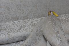 Льняной жаккард цвет СЕРО-ГОЛУБОЙ рисунок ЦВЕТЫ