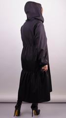 Аннет перлина. Модний плащ для пишних жінок. Чорний.
