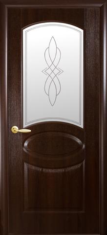 Дверь Фортис R овал ДО (каштан, остекленная ПВХ), фабрика Новый Стиль