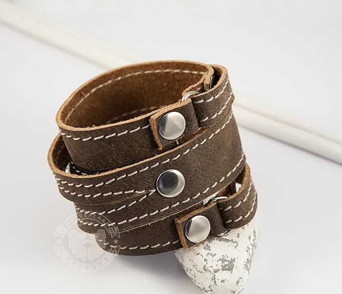 BL425-2 Широкий мужской браслет из кожи, ручная работа,  «Boroda Design» фото 03