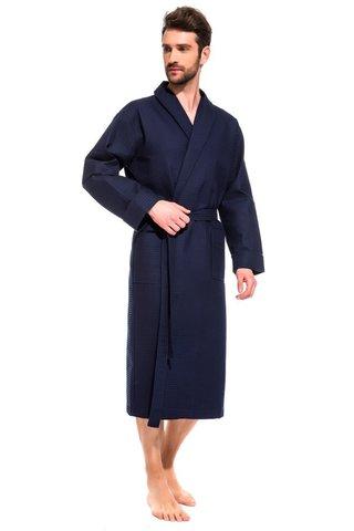 Вафельный мужской халат 421 синий