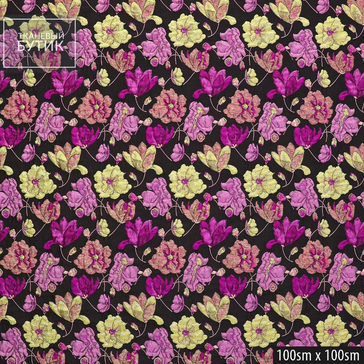 Черный жаккард-клоке с цветами в оттенках фуксии