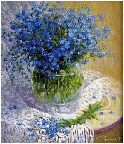 Алмазная Мозаика 30x40 Букет синих цветов на ажурной скатерти