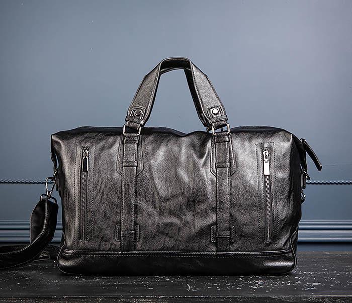 BAG543 Крупная дорожная сумка из кожи черного цвета фото 05