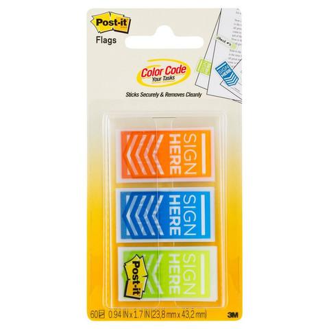 Клейкие закладки Post-it Поставьте вашу подпись пластиковые 3 цвета по 20 листов 24x43 мм в диспенсере