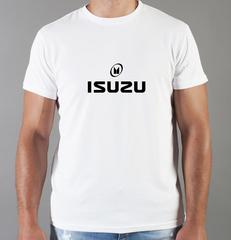 Футболка с принтом Исузу (Isuzu) белая 004