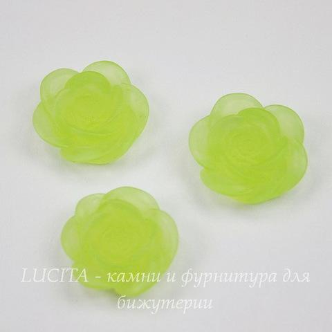 """Кабошон акриловый """"Камелия"""", цвет - зеленый, 20 мм"""