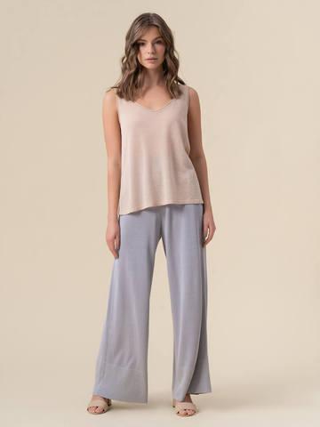 Женские брюки-клеш светло-серого цвета из шелка и вискозы - фото 2
