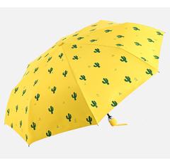 Женский облегченный зонт, с защитой от УФ, 8 спиц, принт- Кактусы (желтый)