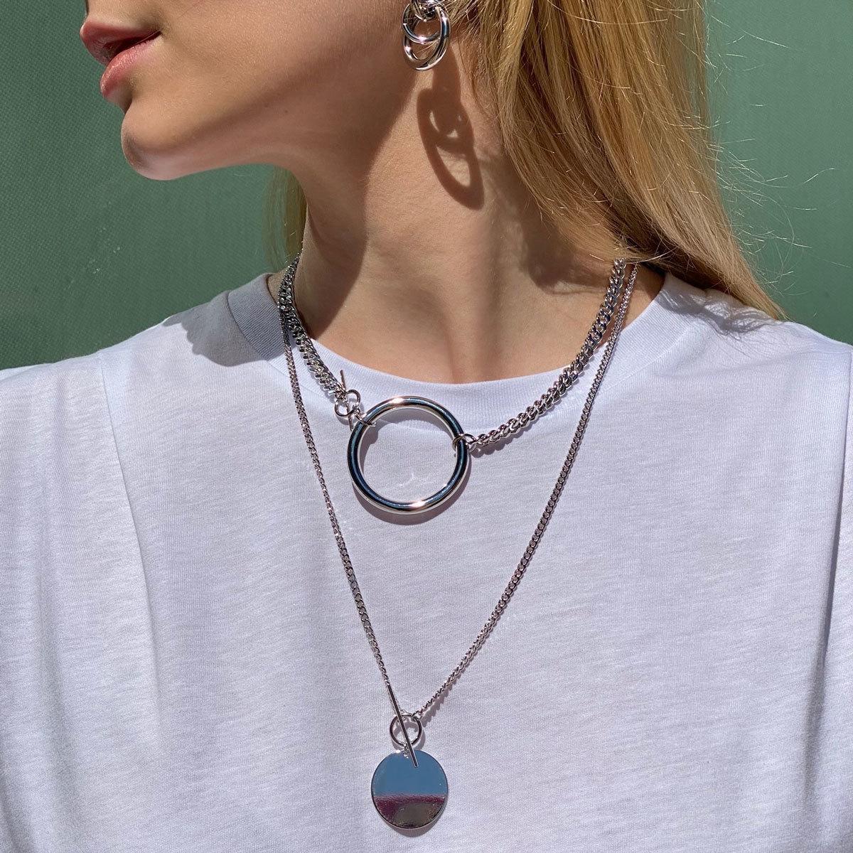 Сэт из цепей с кольцом и медальоном (серебристы)