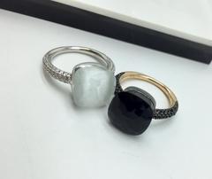 60322- Кольцо Caramel  из золоченого серебра с черным, матовым кварцем (lux)