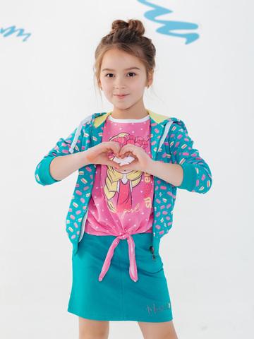 Юбка короткая прямого кроя для девочки бирюзовая купить