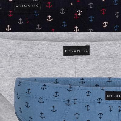 Мужские трусы слипы спорт Atlantic, набор 3 шт., хлопок, темно-синие + серый меланж + деним, 3MP-080