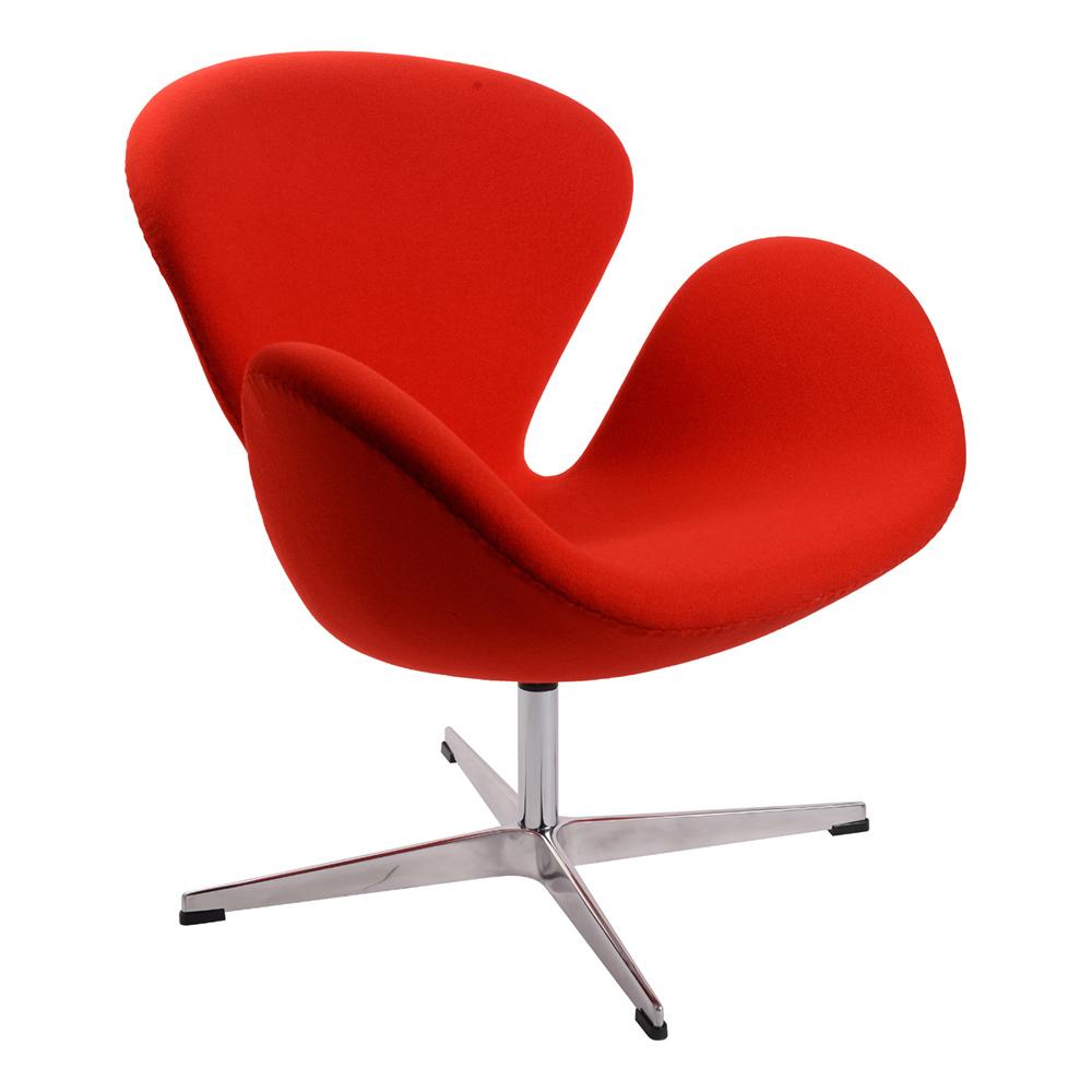 Кресло Arne Jacobsen Style Swan Chair красная шерсть - вид 1