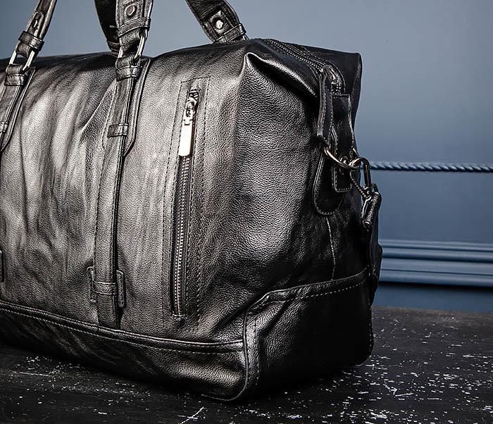 BAG543 Крупная дорожная сумка из кожи черного цвета фото 08